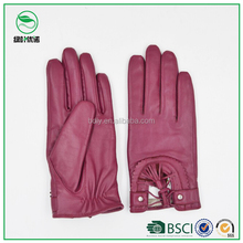 Fashion New Colorful Leather Driving Gloves Women Leather Motorcycle Gloves