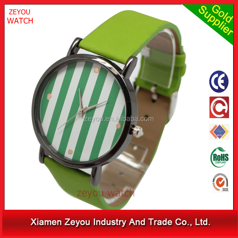 R0718 (*^__^*) Popular promotional focus quartz watch , PU band stripe dial focus quartz watch