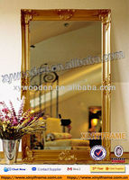 Promotion gold frame wooden mirror bathroom mirror tile