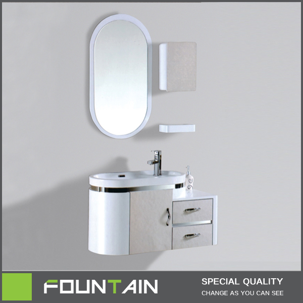 Hangzhou Bathroom Products Oval Shape Ceramic Sink Bathroom Wall Cabinet with Mirror Waterproof Bathroom Cabinet China