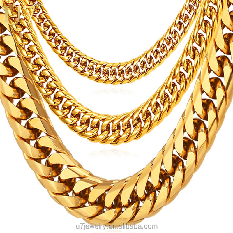 U7 6 / 9 / 13MM Thick 316L Stainless Steel chains Necklace men HipHop Chunky heavy gold chain