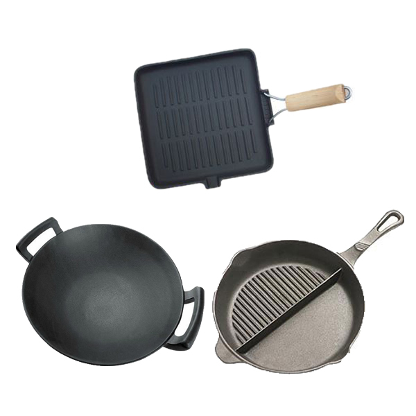 CNC milled seasoned enamel cast iron skillet, cast iron frying pan