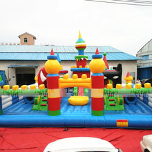 Amusement Equipment Dragon Dinosaur Movable Mouth Big Slide Inflatable Playground for Sale