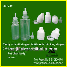 10ml/20ml/30ml PET clear/brown e-cigarette/ e juice liquid plastic dropper bottle with thin tip and childproof cap JB-239