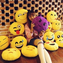 Different Styles Yellow Round Soft Short Plush Emoji Pillow With Cotton Filling 30X30cm