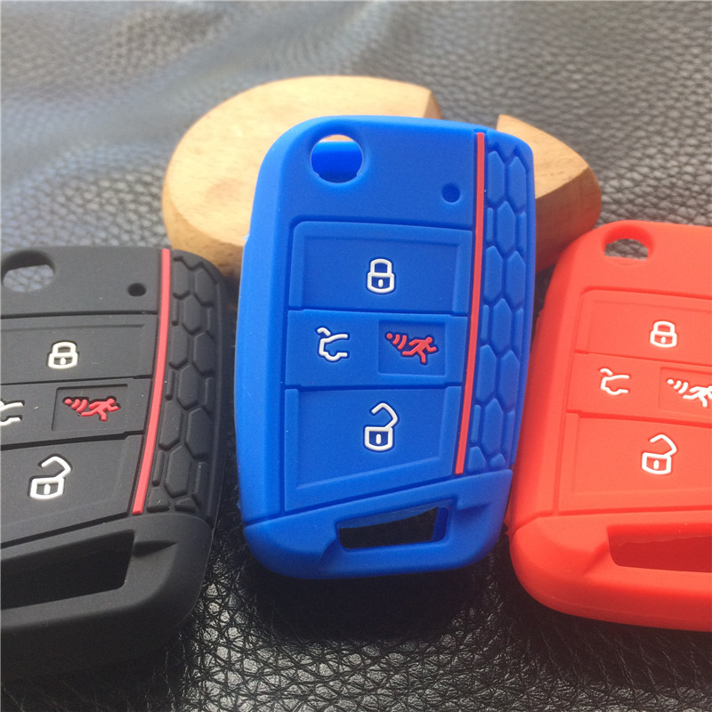 silicone rubber car key protected cover case for VW Polo 2016 2017 golf 7 MK7 for Skoda Octavia combi A7 flip 4 button key case