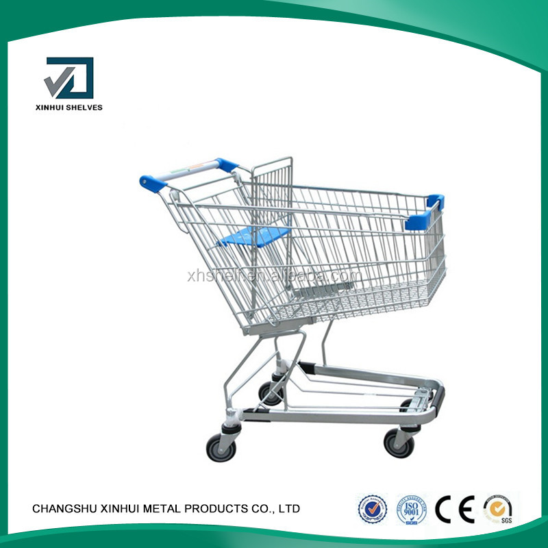 High quality unfoldable chrome plated Europe tyle Supermarket Shopping Trolley,Shopping carts with pu wheels