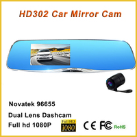 Full hd 1080p g-sensor parking monitor double camera hd dvr oem with night vision 140 degree angle lens car rear view mirror