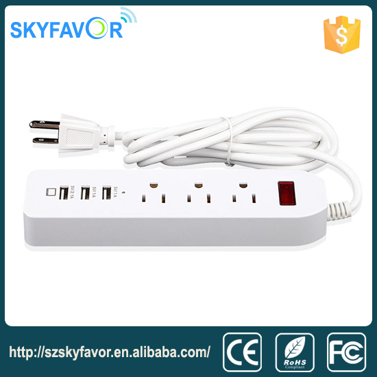 Home wall 5v 3 usb ac power plug socket adaptor 3 US outlet Surge protector smart power strip