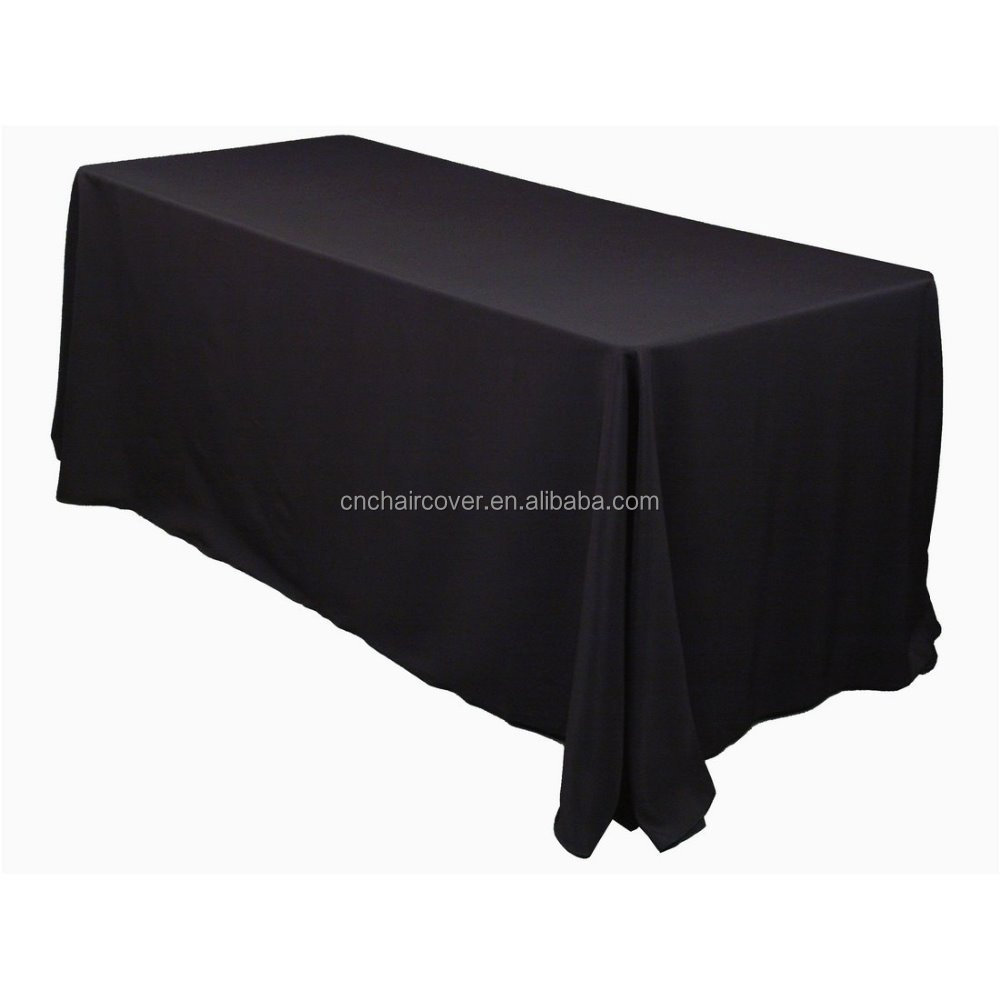 "Custom Polyester Black 60*126"" Rectangle Tablecloths For Wedding"