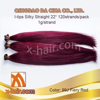 "Silky Straight 22"" 1g/strand Color: 99J (Fiery Red) 100% Virgin Chinese Remy Human Hair I-tips extensions"