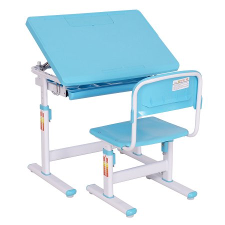 Factory direct sales Children Desk & Chair Set Height Adjustable Student Study Kids Work Station Blue