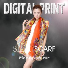 Amazing digital print silk scarf, Bright vivid colors, Focus on the high-end market-Z14