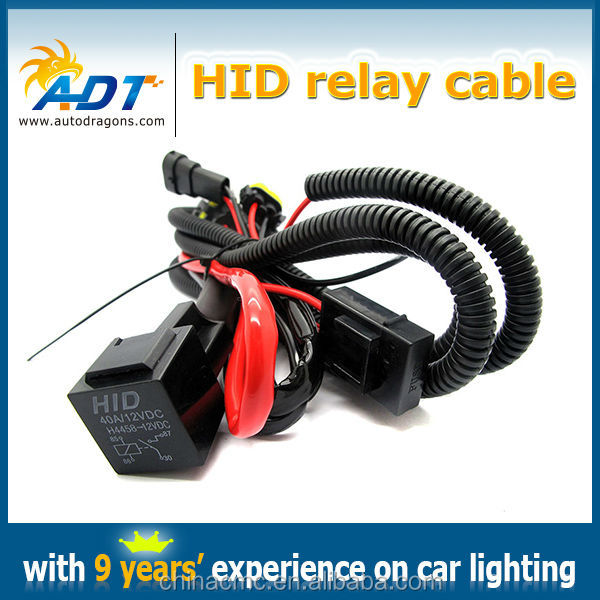 HID Xenon relay cable for H8, HID Conversion Kit Relay Wire Harness, H3 H4 H7 H8 H11 9005 9006 HID relay harness