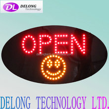 high brightness oval 15''*27''*1'' flashing restaurant open led sign from China supplier Delong