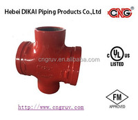 FM /UL Approved Grooved /Threaded Reducing Cross Grooved Ductile Iron Pipe Fitting