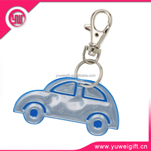 New arrival glow in dark plastic car shape shining pvc key chain