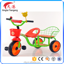 Hot sale children ride on toy style with double seat kids tricycle for twins