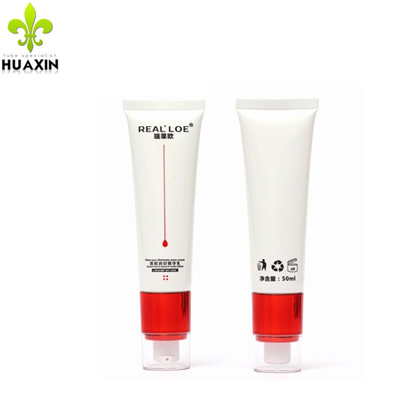 2017 factory price plastic packaging cosmetic acne cream <strong>tube</strong> with pump cap
