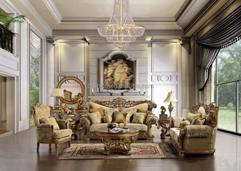 2015 NEW ARRIVAL Luxury European Victorian Wooden Living Room Sofa, French Living Room Set