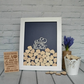 Wedding Heart guest book white frame guest book