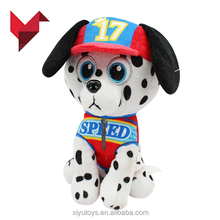 small soft white and black dot animal dog plush toy