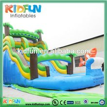 Low price stylish inflatable long water slide with wheels