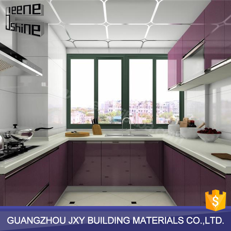China factory cheap ready made modern modular purple kitchen cabinets with sink