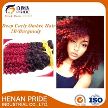 100% human hair extension Deep Curly Ombre Color #1B/Burgundy