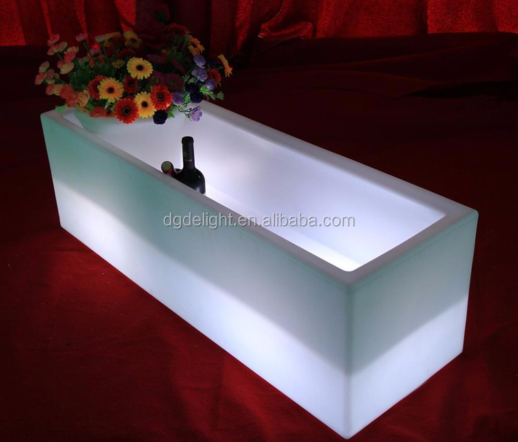 Party and Events Use 16 Colors LED Long Cooler Light up LED Rectangle Ice Bucket
