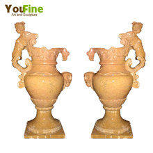 Yellow vase marble flower planter pots with angel