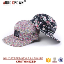 Hot sale cotton custom made cheap floral flat bill hat