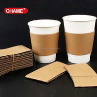 Disposable printed paper custom hot coffee cup with sleeve