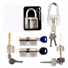 Practice Lock Set, Transparent Crystal Keyed Padlock, Lock Picking Training Tools for Locksmith