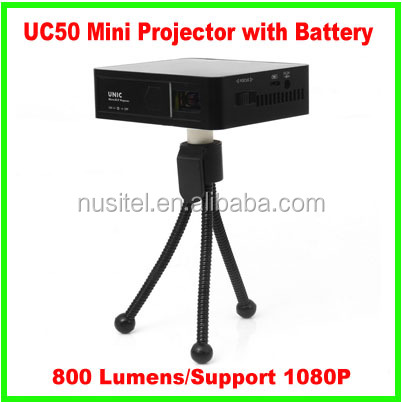 DLP 800 Lumens 854*480 1080P support LED portable mini projector with battery UC50