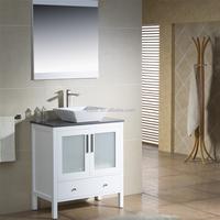 [SQBAR] 32 inch Modern Single Sink Solid Wood Bathroom Vanity in White Finish