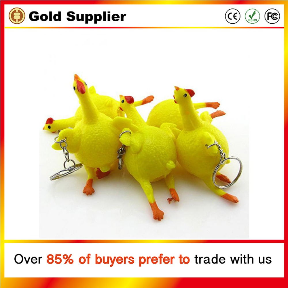 Squeeze Chicken Laying Egg Keyholder Stress Relief Vent Tricky Toys Key Ring Funny