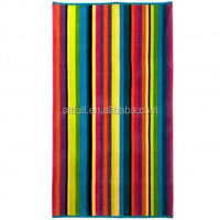 Bulk buy from factory 100% Cotton rainbow stripe beach towel ,jacquard terry towel,cotton towel