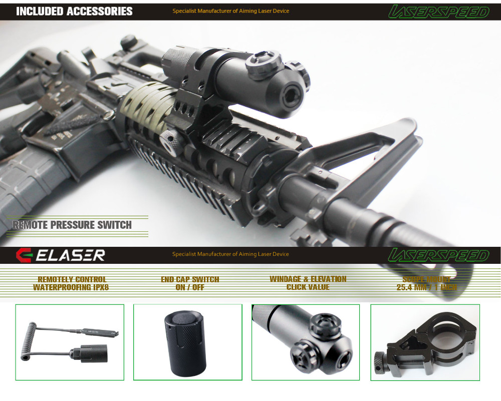 Ar 15 Accessories Waterproof Tactical Picatinny Rail Red Laser Sight