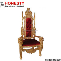 HC509 Whlolesale Custom Antique French Baroque Tufted Silver White Wedding Queen High Back Cheap King Lion Head Throne Chair