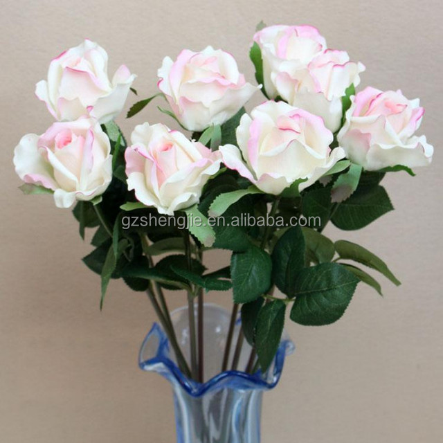 SJF22 White single artificial rose flower with a pot