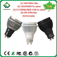 800 lumen 15 degree Ra>95 dimmable gu10 cob led spotlight with CE ROHS SAA