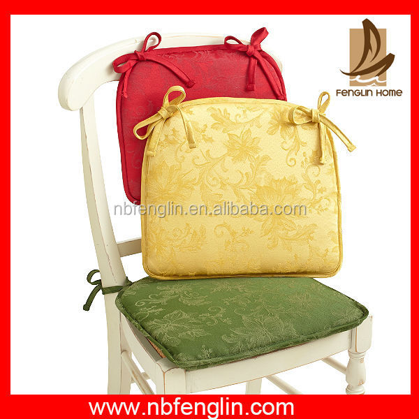 Hot Sale Pure Color Cotton Thin Chair Pad With Ties