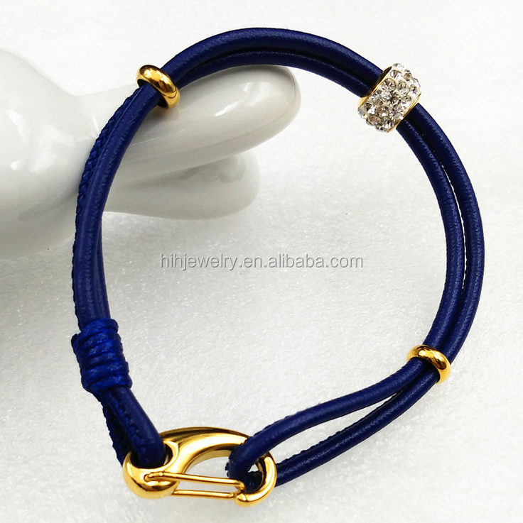 2016 personalized leather cuff bracelet wholesale mens jewelry blue leather lobster clasp bracelet
