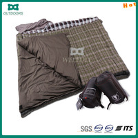 Travel double person printed sleeping bag with pillow