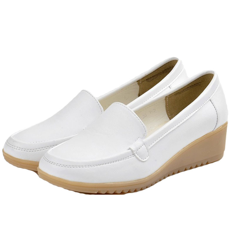 Women Flat Shoes 2015 New Brand Shallow mouth Wedges Leather Shoes Women Loafers Shoes Casual  White Slip on Shoes for Women