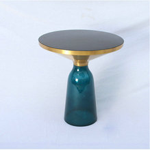 Replica designer furniture Transparent glass base Brass Bell Table by sebastian herkner