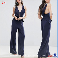New Arrival Beautiful Wide-Cut Leg V-Neck Frilly Jumpsuits Women 2017