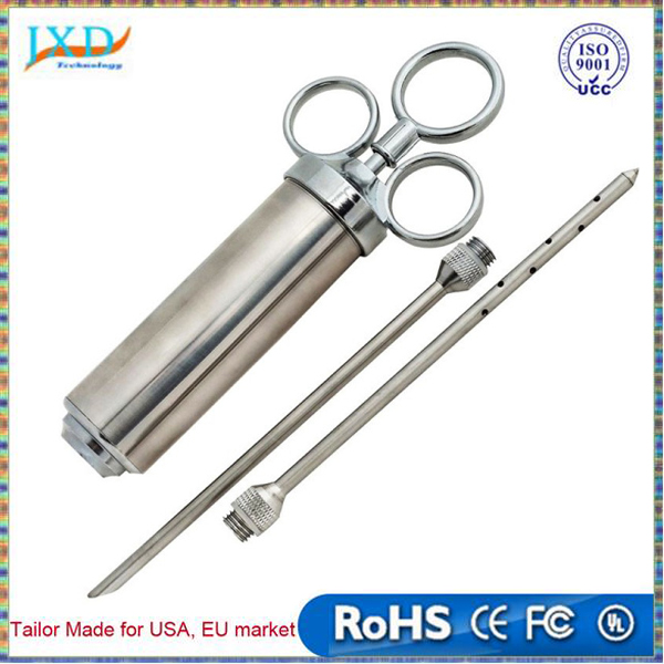 BBQ Meat Syringe Marinade Injector Stainless Steel Food Flavor Seasoning BBQ Brine Injectors Kit Injection Gun