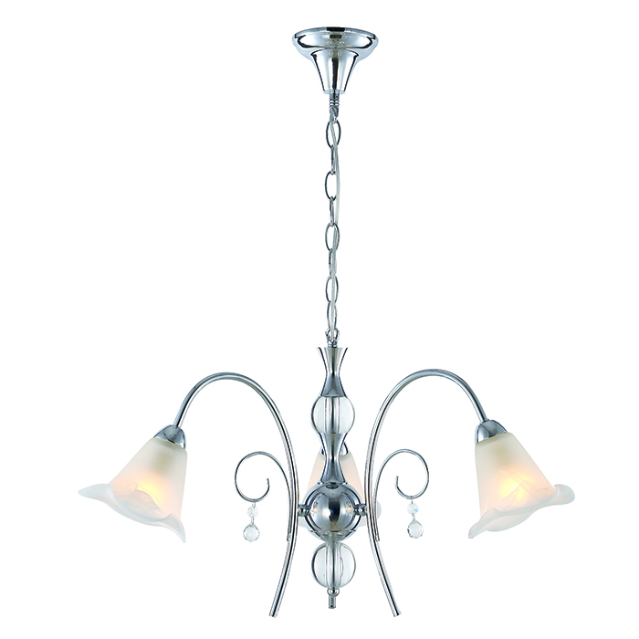 Modern chrome finished glass shade chandelier lighting with high quality crystal